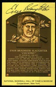 Enos Slaughter Autograph on HOF Plaque