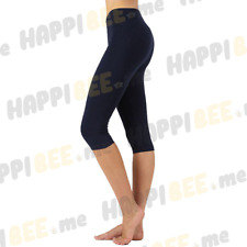 Women Stretch Cotton Capri Leggings Yoga Pants Slim Fit Color Gym Fitness Navy S