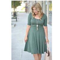 LuLaRoe Womens Nicole Dress Green/Gray Short Sleeve Scoop Neck Fit Flare Size L