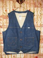 Vintage 60's - 70's Wrangler Sherpa Fleece Lined Denim Vest Size Large Xl