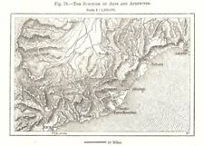 The Junction of Alps and Apennines. Liguria Nice Genoa Italy. Sketch map 1885