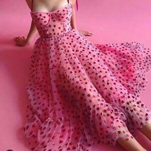 NEW Women Dress French Style Strawberry Sequined Long Dress Net Yarn Bandage UK