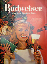 Vintage 1959 Budweiser Christmas Print Ad Art Where Theres Life.There's Bud