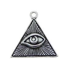 Lot of 10 Antiqued Silver Eye of Providence Charm Triangle Shaped Pendants DIY