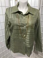 Women's Coldwater Creek 2X Silk Blend Sage Green Check Spring Jacket/Blazer