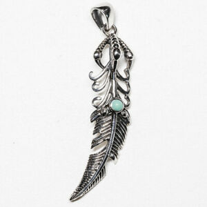 Feather Angel Turquoise Pendant .925 silver Peacock Claw Biker Pagan feeanddave.