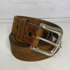Tony Lama Aztec Western Design Stamped Embossed Brown Leather Belt Size 40