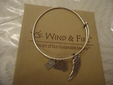 WIND AND FIRE ANGEL WING Expandable Charm Bangle Bracelet Silver Finish New WBox