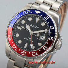 43mm bliger black dial ceramic bezel GMT sapphire glass automatic mens watch 359
