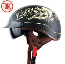 TORC Motorcycle Helmet T55 Harley Retro Half Face Inner Sun Visor XL Matte Skull Lucky