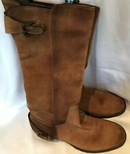 Manila Made In Italy Women Brown Suede Leather Mid Calf Boots Size 37 Uk 4