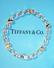 Tiffany & Co Argento Sterling 18K 18Ct Oro Giallo Barbazzale Link 21cm Bracciale