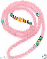 6mm Tibet Buddhist 108 Rose Quartz Turquoise Prayer Beads Mala Bracelet Necklace