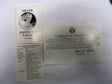 1993 Sliver Eagle Proof COA ONLY NO COIN