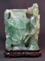 N6 art chine grand vase pot ancien Fluorine sculpté 4.2Kg 25c geisha jade socle