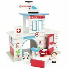 WOODEN HOSPITAL + AIR AMBULANCE + FIGURES SET TOY BY LEOMARK FREE P+P