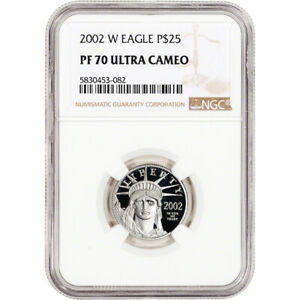 2002 W American Platinum Eagle Proof 1/4 oz $25 - NGC PF70 UCAM