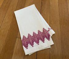 New listing vintage Huck Cotton Tea Towel / Kitchen Hand Towel - Pink Geometric Embroidery