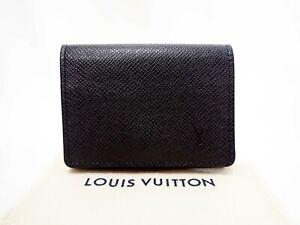 Authentic LOUIS VUITTON Taiga Card Case Holder Carte De Visite NM M64595 Black