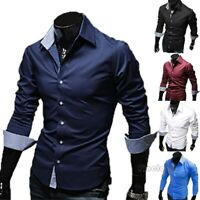 Men's Luxury Stylish Casual Dress Shirt Slim Fit T-Shirts Formal Long Sleeve US