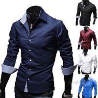 Men's Cotton Long Sleeve Shirt Summer Cool Loose Casual V-Neck Shirts Tops M-3XL