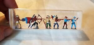 Merten HO Scale Indians and Cowboys Fighting 6 Figures  # 749