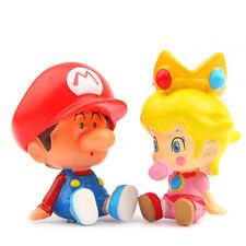 2pcs Super Mario Bros Peach Action Figure Doll Figurine Kids Gift