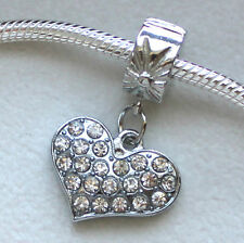 Silver Charm Bead Stopper Lock Clip fits Authentic European bracelet Gem Heart