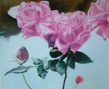 Floral Roses Pinks Reds Greens Contemporary Signed Print Giclee
