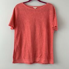 4f6fa2e1430a3d Eileen Fisher Ribbed Knit Blouse Organic Linen Cotton Coral Boxy Medium M  Top