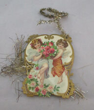 Vintage Victorian Tinsel Card 2 Angels Holding Rose Basket Ornament *