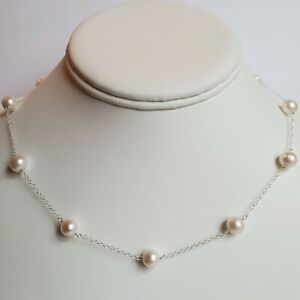 """White 7-8 mm Freshwater Pearl Sterling Silver Tin Cup Necklace 18"""""""
