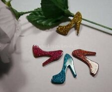 5 Pc Glittered Shoe Diy Flat Back Resin Kawaii Cabochon Decoden Cellphone Decora
