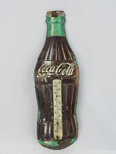 """Vintage Coca-Cola Metal Thermometer 16.25"""" Robertson USA Sign No Glass Tube"""
