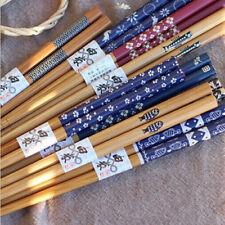 Set of 5 Pairs Natural Bamboo Painted Chopsticks Reusable