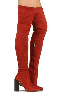 Cape Robbin Rust Suede Over the Knee Boots Chunky Heel Women's shoes Colorways