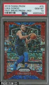 2019 Panini Fast Break Red Prizm #75 Luka Doncic Mavericks 5/125 PSA 10 GEM MINT