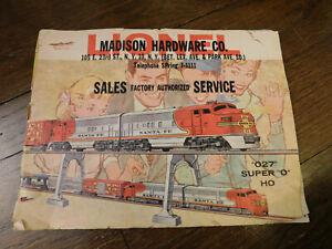 """Vtg 1960 LIONEL """"027"""" Super O HO Toy Train Railroad Catalog 55 pages RETRO Fun!"""