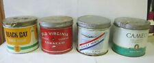 4 Vintage CIGARETTE TOBACCO TIN  Can LOT CANADA DAILY MAIL BLACK CAT CAMEO OLD