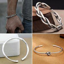 Fashion 925 Silver Twist Adjustable Bracelet Cuff Bangle Women Men Jewelry Gift