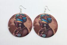 Black art beautiful girl desert wood wooden drop dangle earrings large