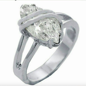 Ladies Silver Plated Cocktail Ring Marquis Cubic Zirconia Size 4 11