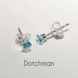 925 Sterling Silver 2.5MM Blue Zircon Stud Earrings