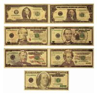 New 7PCS Gold Dollar Bill Full Set Gold Banknote Colorful USD 1/2/5/10/20/50/100