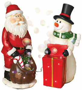 22in. Tall Musical Snowman Santa Bubble Machines Statues Christmas Party Figures