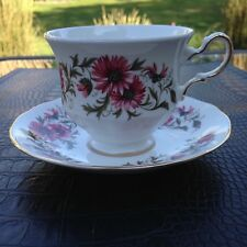 """Royal Vale (Colclough) Pretty red """"Mums"""" English bone china teacup and saucer"""