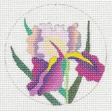 "Purple & Pink Iris 3"" Rd. handpainted Needlepoint Canvas Ornament by Juliemar"
