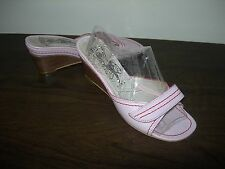 FLY LONDON WOMEN'S SANDALS MULES WEDGES PINK LEATHER EU 38- 39 / UK 5- 6 SLIM
