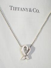 Tiffany & Co Sterling Silver 0.03 Carat Ct Diamond Loving Heart Pendant Necklace