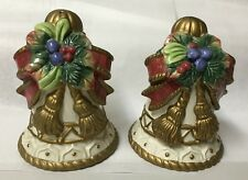 """FITZ AND FLOYD CHRISTMAS BOW  SALT & PEPPER SHAKERS """"BRAND NEW"""""""